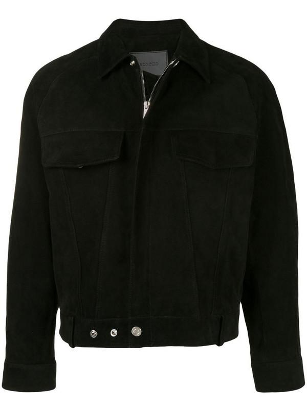 SONGZIO crop suede trucker jacket in black