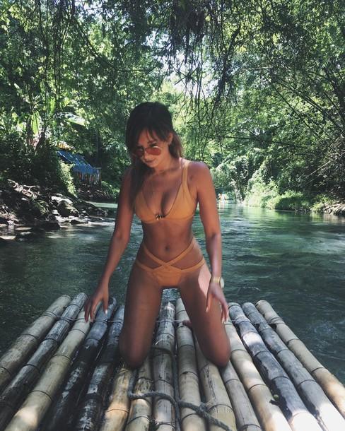 we wore what blogger sunglasses bikini beige orange summer outfits bikini top bikini bottoms high waisted bikini round sunglasses