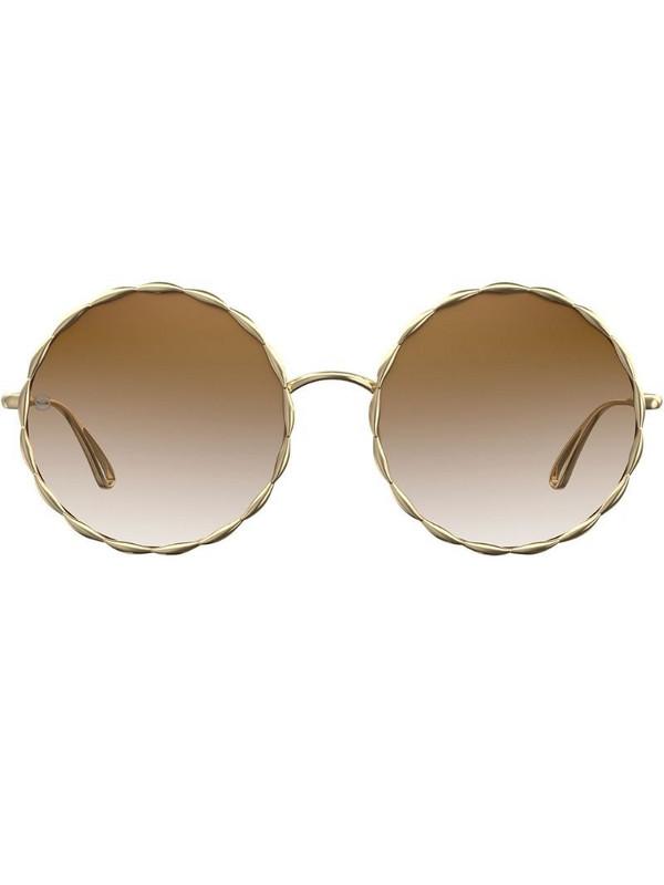 Elie Saab gradient round sunglasses in brown