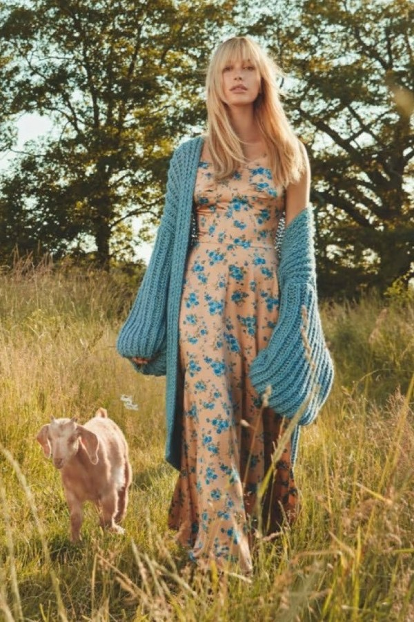 dress floral floral dress cardigan fall outfits editorial model hailey baldwin