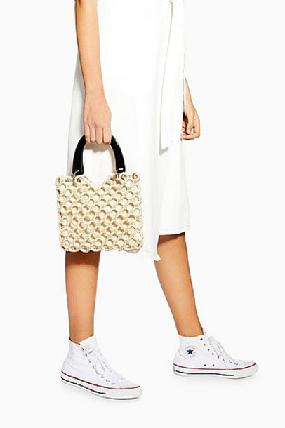 Topshop South Bead Mini Tote Bag - Cream