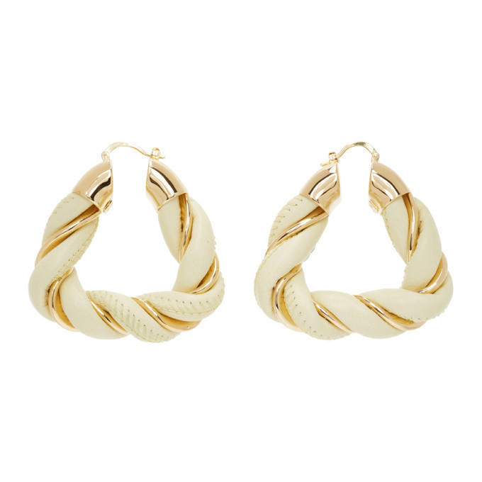 Bottega Veneta Gold and Yellow Leather Earrings in cream