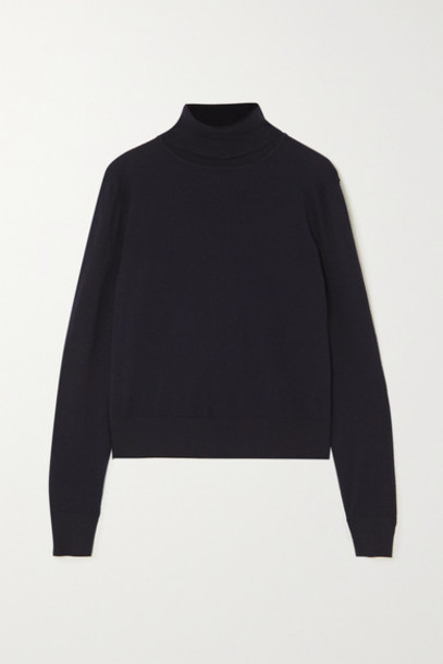 The Row - Chanic Merino Wool And Cashmere-blend Turtleneck Sweater - Navy