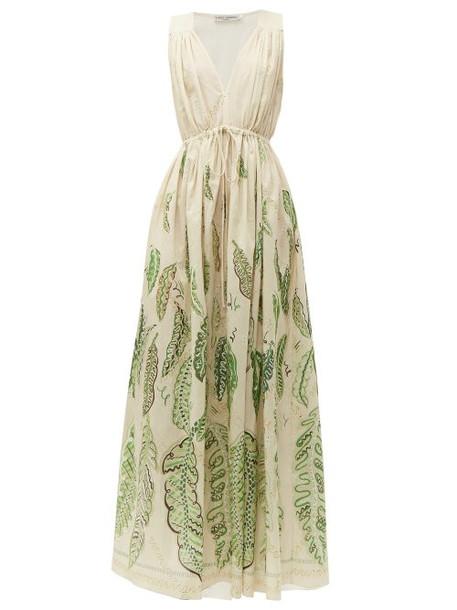 Three Graces London - Solaine Leaf Print Cotton Maxi Dress - Womens - Green Multi