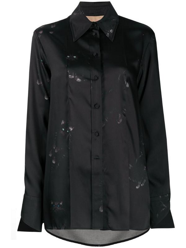 Ssheena cat print shirt in black