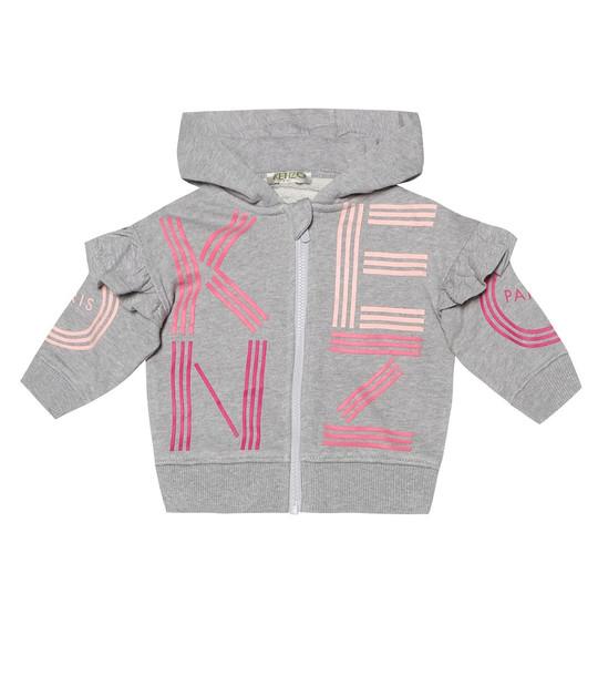 Kenzo Kids Baby logo cotton hoodie in grey