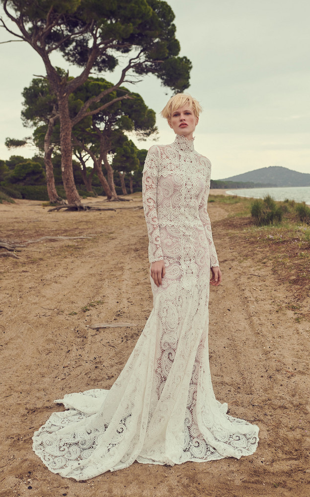 Costarellos Guipure Lace Body-Contouring Sheath Gown With Mock-Neck & Linear Guipure Lace Trims in white