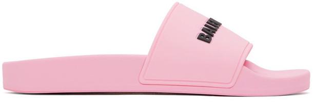 Balenciaga Pink Logo Pool Slides