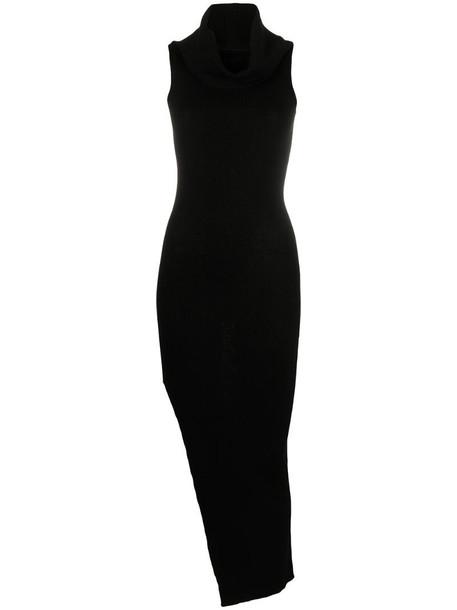 Rick Owens virgin wool slit dress in black