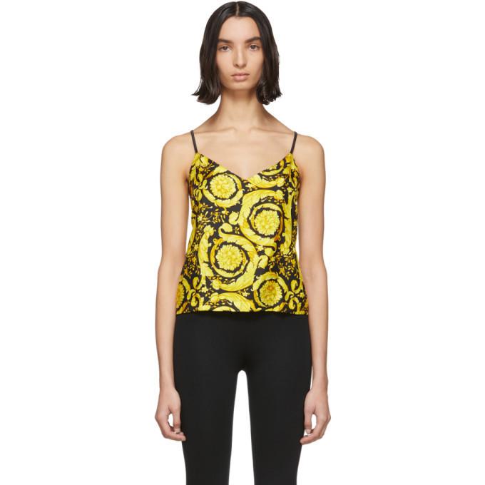 Versace Underwear Multicolor Silk Baroque Tank Top in black