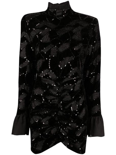ROTATE Ida roll neck dress in black