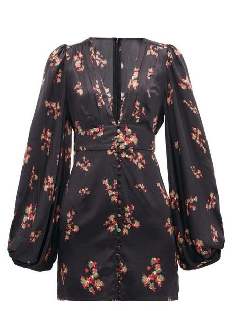 Rat & Boa - Stevie Floral Print Satin Mini Dress - Womens - Black