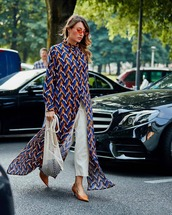 dress,shirt dress,maxi dress,white pants,pumps,bag