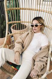sunglasses,brown,fur,fur jacket,celebrity,instagram,ashley tisdale