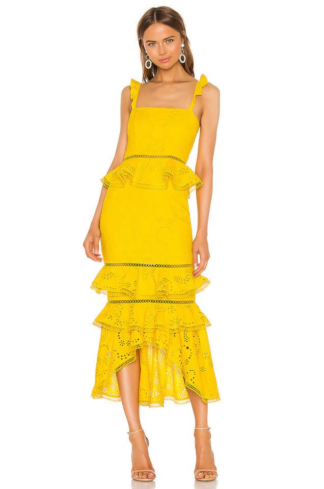 X by NBD Haze Midi Dress in yellow