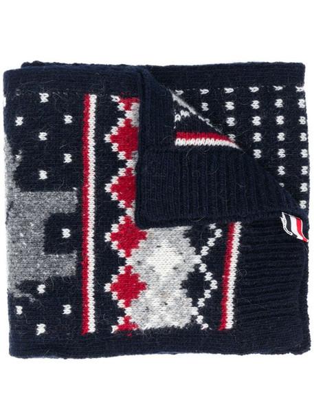 Thom Browne fair isle scarf in blue