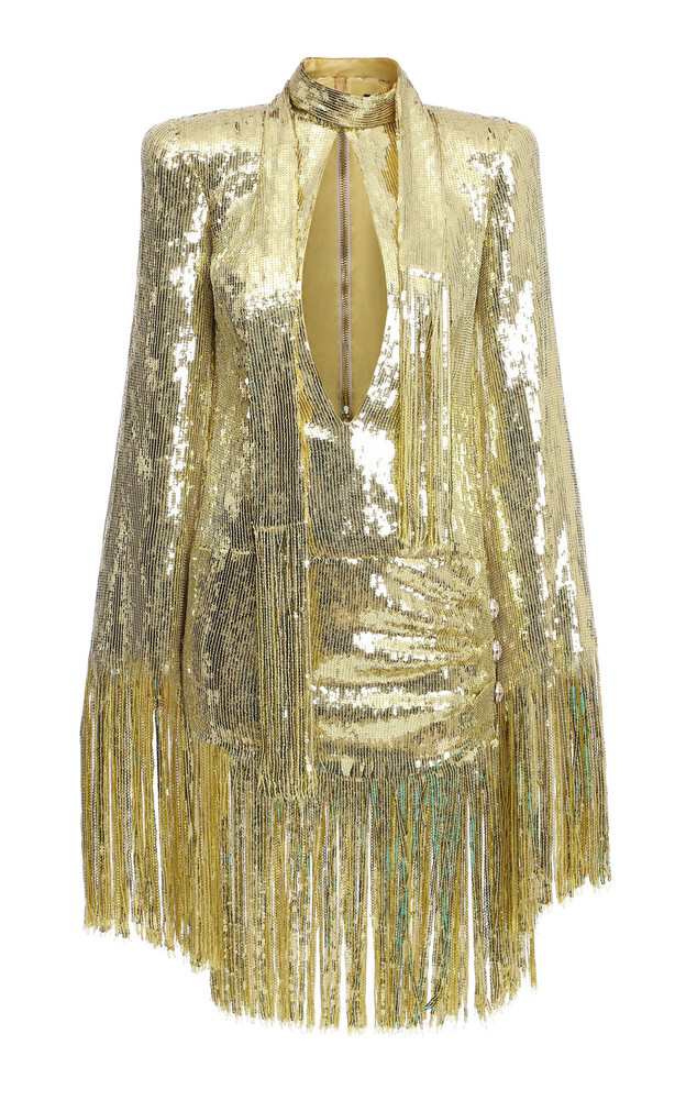 Balmain Fringed Sequined Mini Dress Size: 34 in gold
