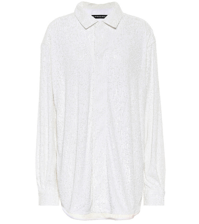 Y/PROJECT Sequined polo shirt in white