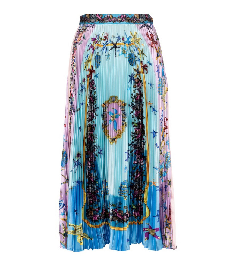 Versace Trésor de la Mer pleated satin midi skirt in blue