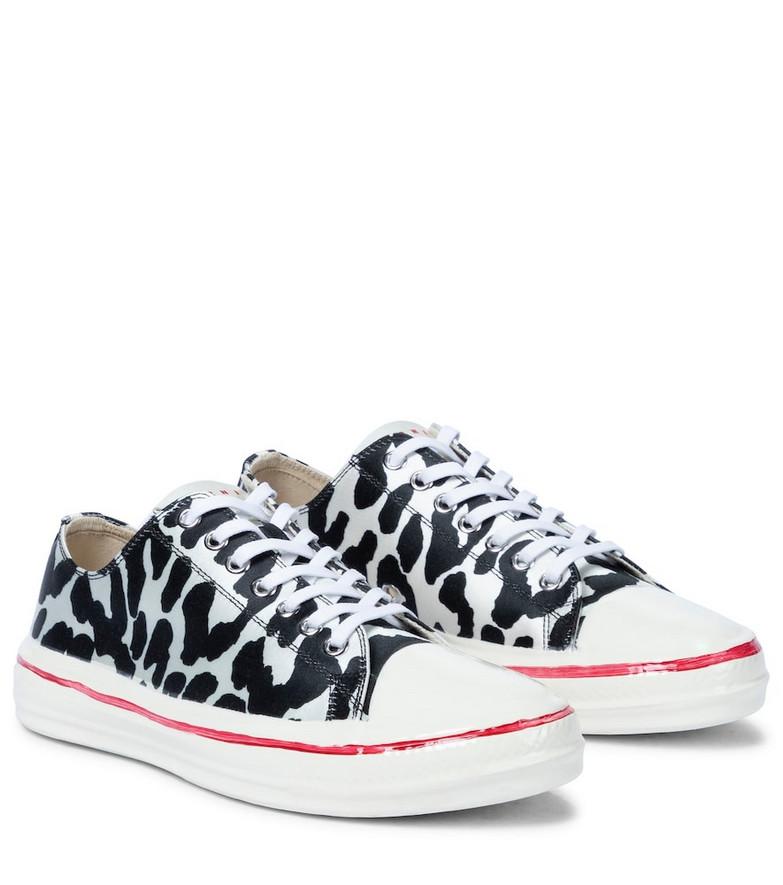 Marni Leopard-print satin sneakers in black