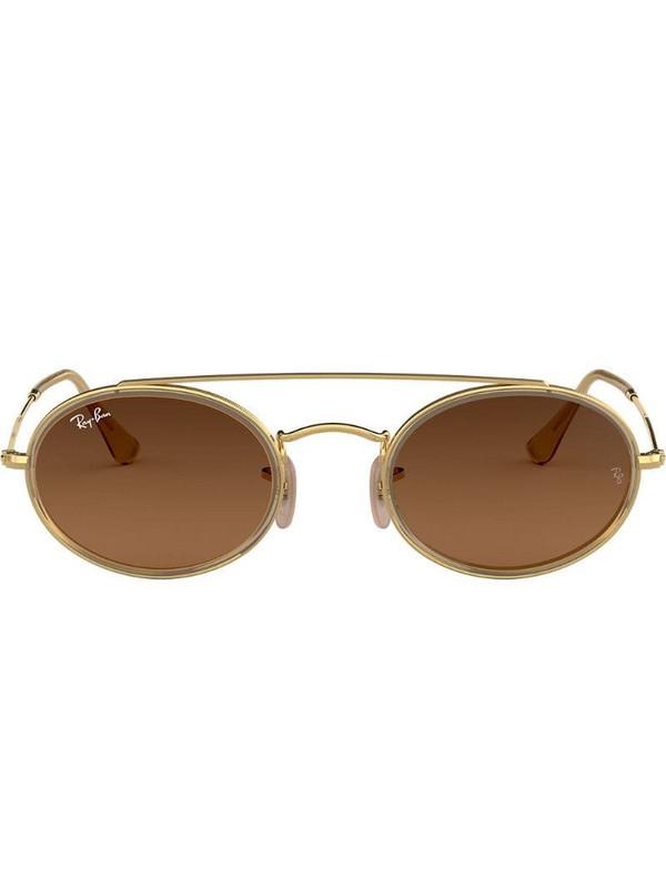 Ray-Ban Oval Double Bridge sunglasses in metallic