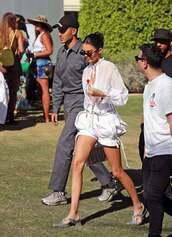 shorts,blouse,top,white,white top,kendall jenner,kardashians,celebrity,coachella,festival
