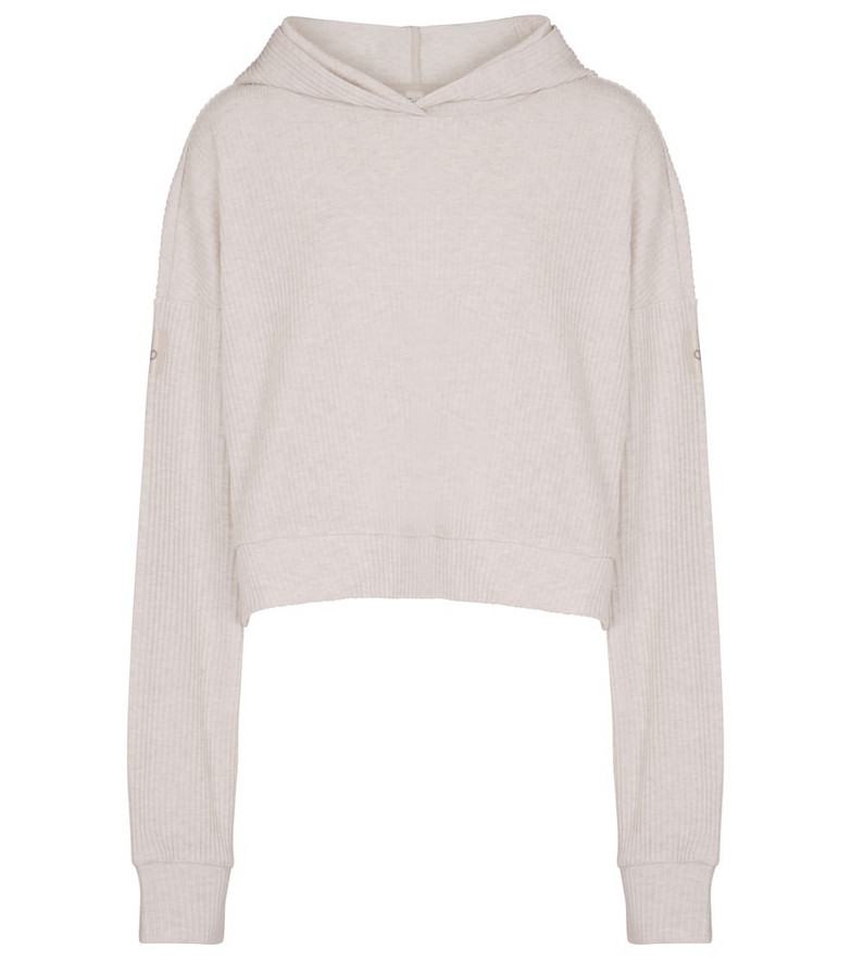 Alo Yoga Muse ribbed-knit cropped hoodie in white