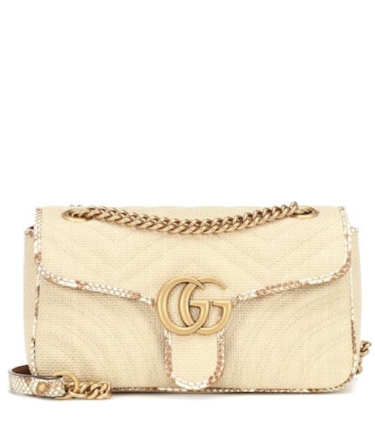 Gucci GG Marmont Small raffia shoulder bag in beige
