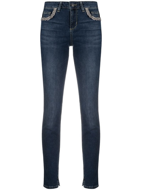 LIU JO skinny jeans with crystal detail in blue
