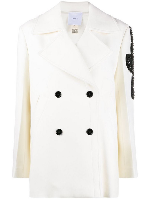 Patou double breasted embellished coat in neutrals