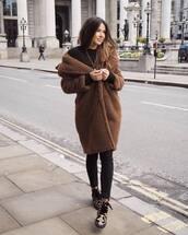 coat,brown coat,teddy bear coat,mango,oversized coat,ankle boots,black skinny jeans,black sweater