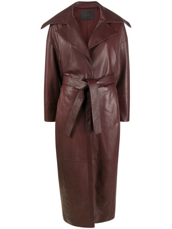 Drome belted leather trench coat in red