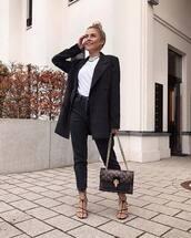 jeans,high waisted jeans,black jeans,black sandals,louis vuitton bag,black coat,white t-shirt