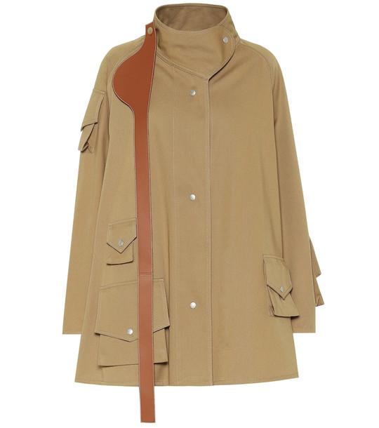 Loewe Leather-trimmed cotton coat in beige