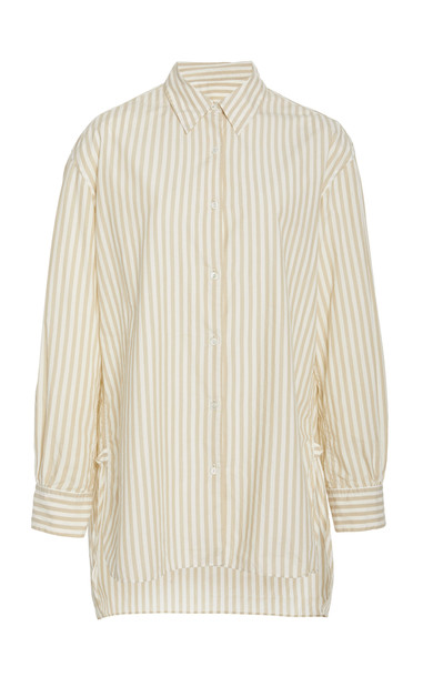 NL Collection Noa cotton high-low shirt in yellow