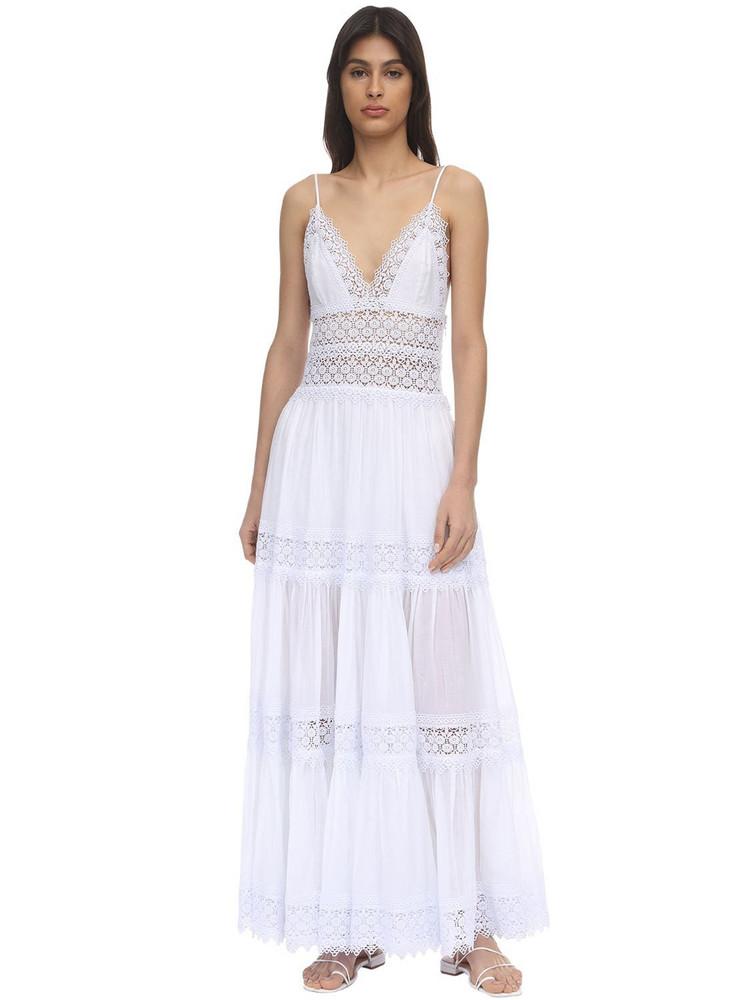 CHARO RUIZ Cindy Lace & Cotton Maxi Dress in white