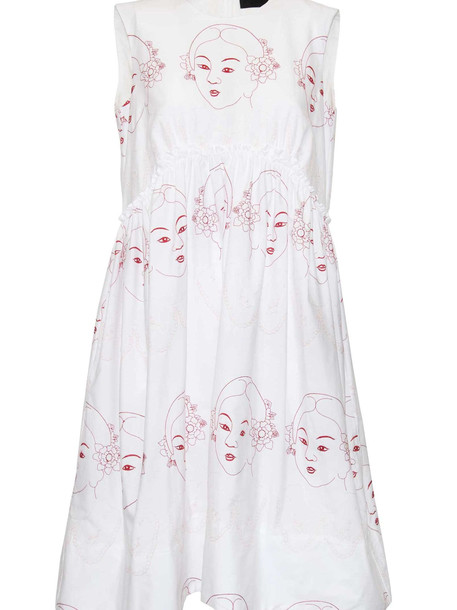 Simone Rocha Sleeveless Flared Dress in pink / red / white