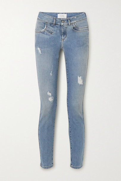 Givenchy - Distressed Mid-rise Skinny Jeans - Blue