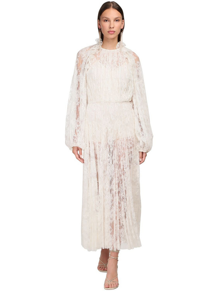 MAGDA BUTRYM Ruffled Lace Midi Dress in cream