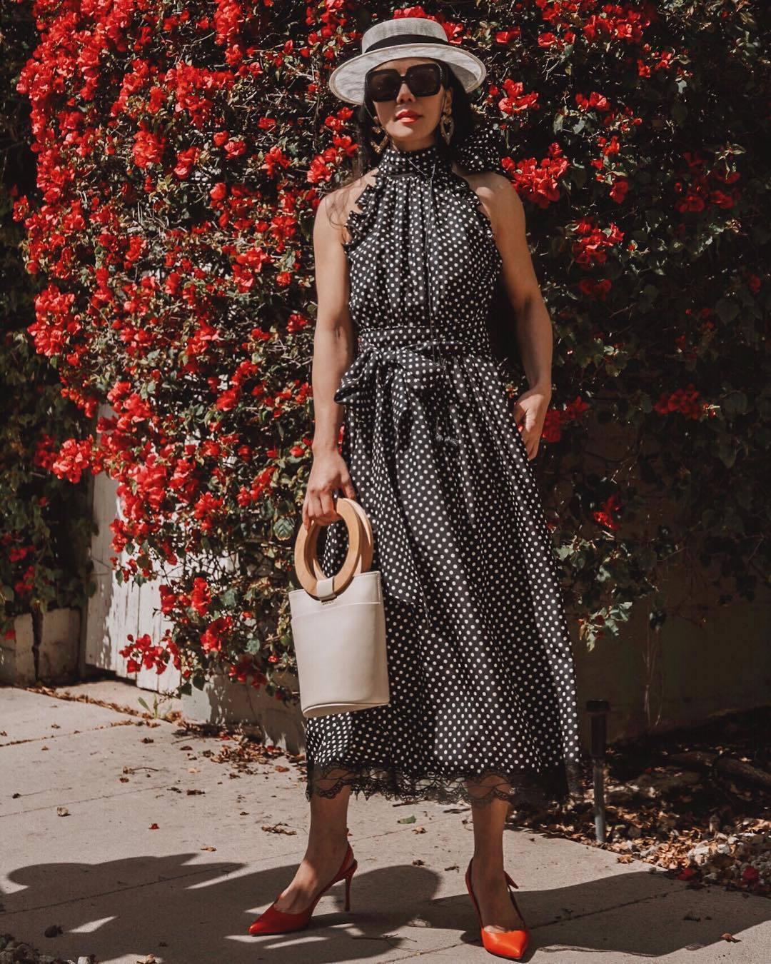 dress midi dress polka dots black dress slingbacks handbag hat sunglasses