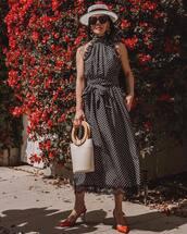 dress,midi dress,polka dots,black dress,slingbacks,handbag,hat,sunglasses