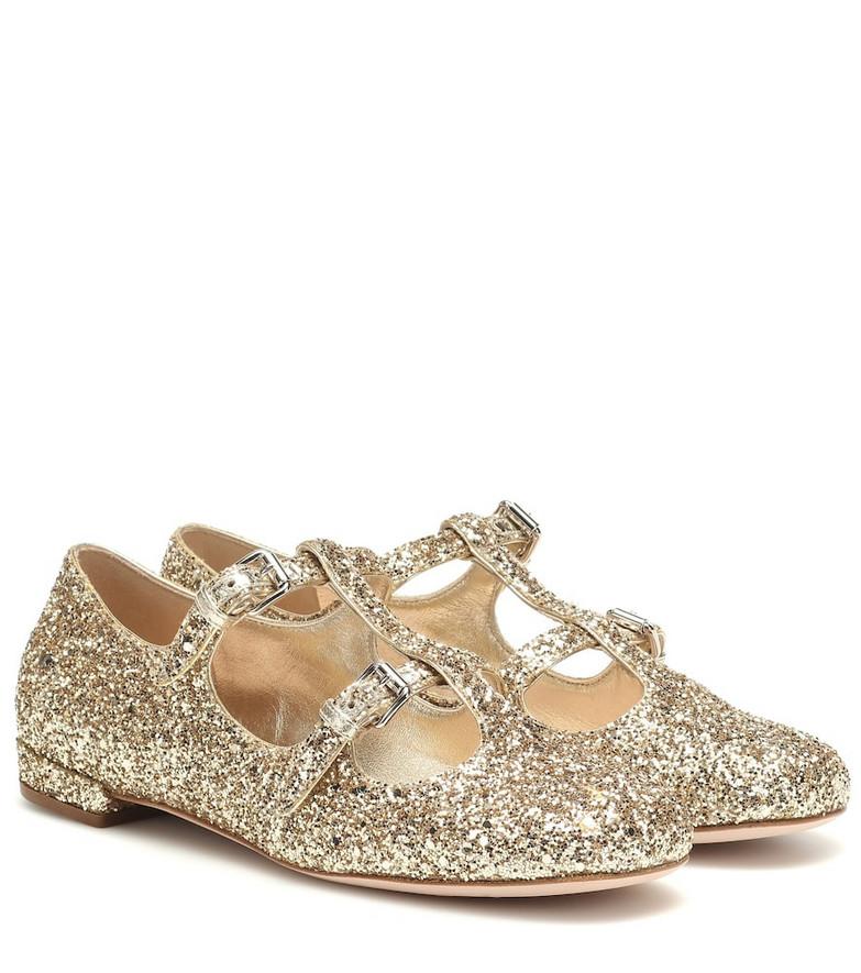 Miu Miu Glitter ballet flats in gold