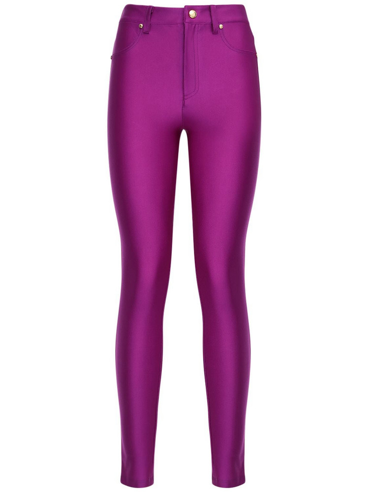 VERSACE JEANS COUTURE Shiny Lycra Skinny Pants in fuchsia
