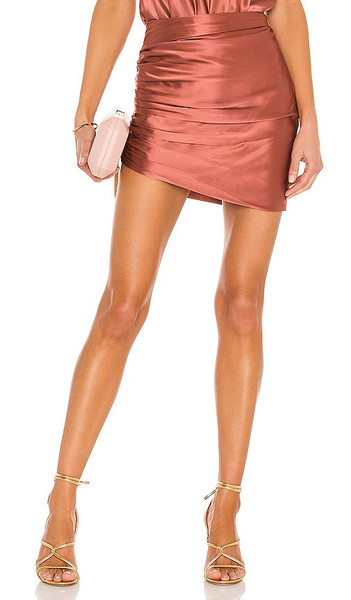 The Sei Gathered Asymmetrical Mini Skirt in Pink in rose