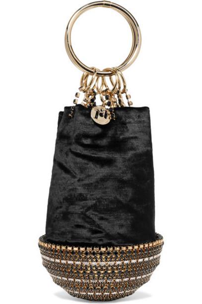 Rosantica - Ghizlan Crystal-embellished Velvet Clutch - Black