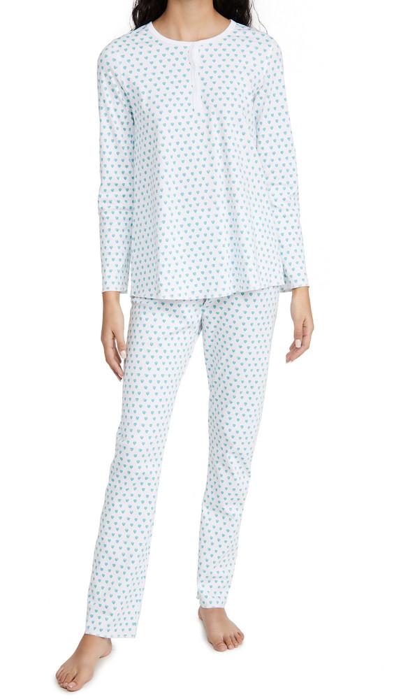 Roller Rabbit Hearts Pajama Set in mint