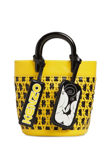 KENZO Mini Woven Leather Bucket Bag in yellow