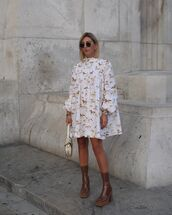 dress,white dress,mini dress,long sleeve dress,brown boots,platform boots,white bag