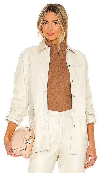 Tach Clothing Lili Leather Jacket in Cream in ivory