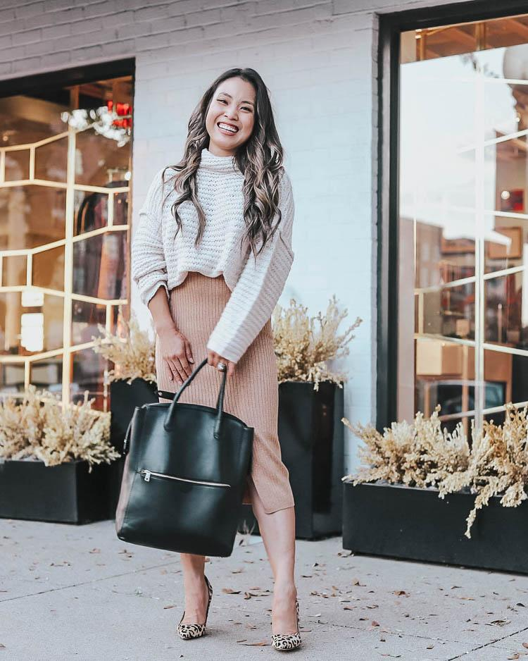 cute & little blogger top sweater skirt shoes bag fall outfits turtleneck sweater